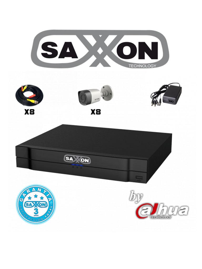 SAXXON PRO SAX7208HS3KIT - KIT DE 8CH TRIHIBRIDO/ HDCVI / ANALOGO/ IP/ P2P/ 8 CAMARAS 720P/ IR 15M/ IP66/ CABLE Y FUEN// 2 CANALES IP EXTRA
