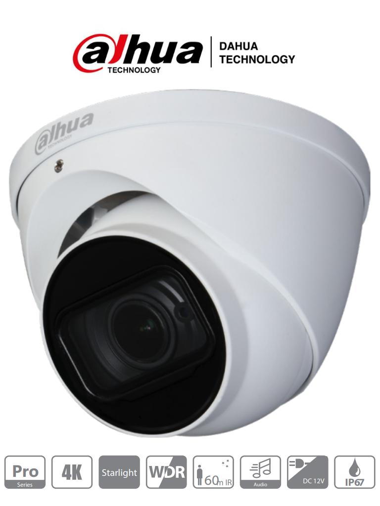 DAHUA HDW2802T-Z-A - Camara Domo Eyeball 4K Starlight/ 8 Megapixeles/ Lente Motorizado 3.7 mm -11 mm/ IR 60 de Mts/ WDR Real de 120dB/ Microfono Integrado + 1 Canal de Audio/ IP67/ #SeriePro
