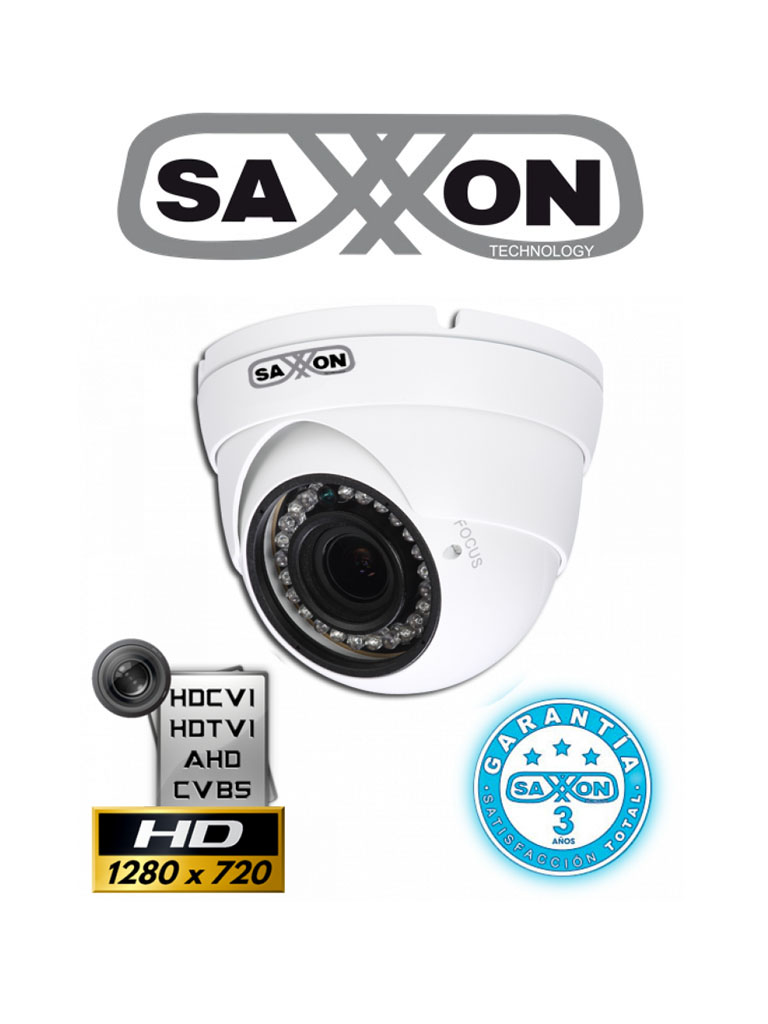 SAXXON PRO DVF2710TM - Camara domo  HDCVI  720p / TVI / A HD / CVBS / Lente 2.7 mm-12 mm / Ir 30M / Smart ir / IP67 / BLC / HLC / DWDR / AGC / Metálica