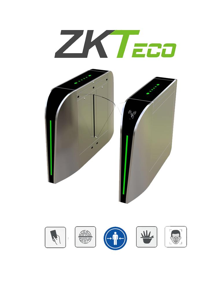 ZKTECO FBL300 - Barrera Peatonal Retraible / Bidireccional / Acero SUS304 / Aleta de Acrílico / 110V / 35 Personas x Min / Carril 60 cm / Exterior Protegido / 2 millones de Ciclos / Infrarrojos de Seguridad / No cuenta con Lectores y Panel / #NuevoZK