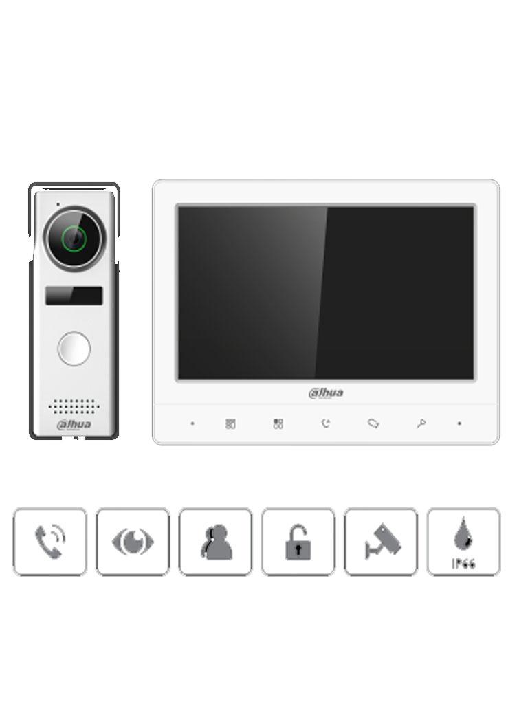 DAHUA KTA02- Kit de Videoportero Analógico/ Monitor de 7 pulgadas/ Cámara de 1.3 MP/ Frente de calle IP66