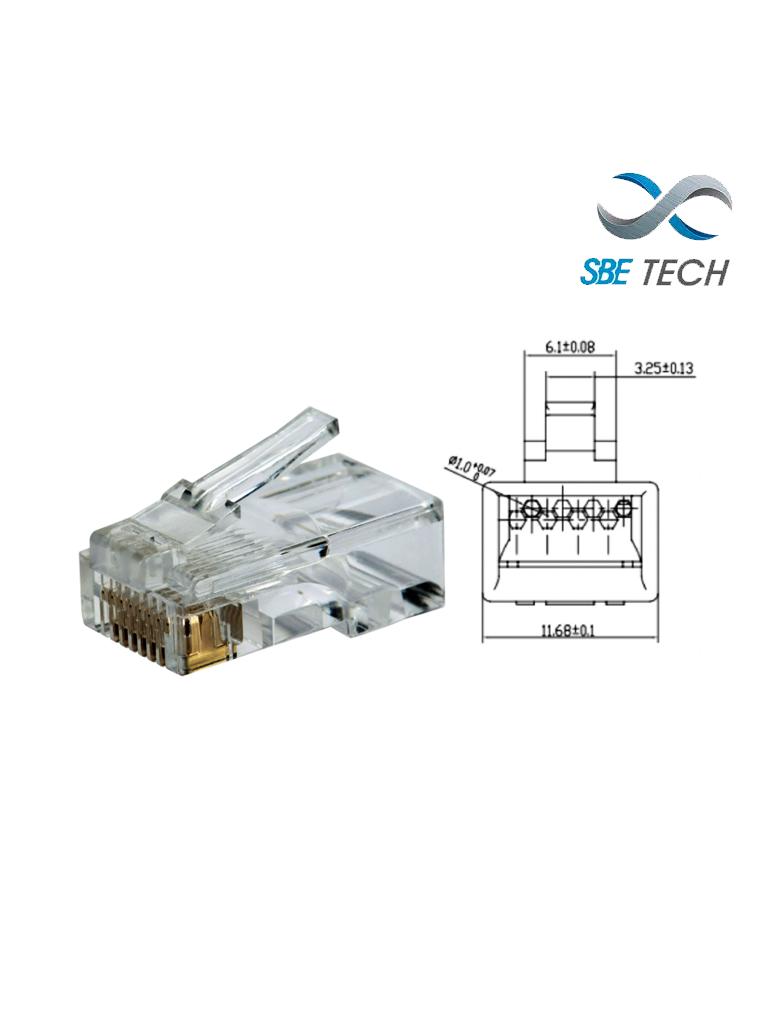 SBETECH PLUGRJ45C6- Conector plug RJ45 para cable UTP / CAT 6 / Paquete 50 piezas