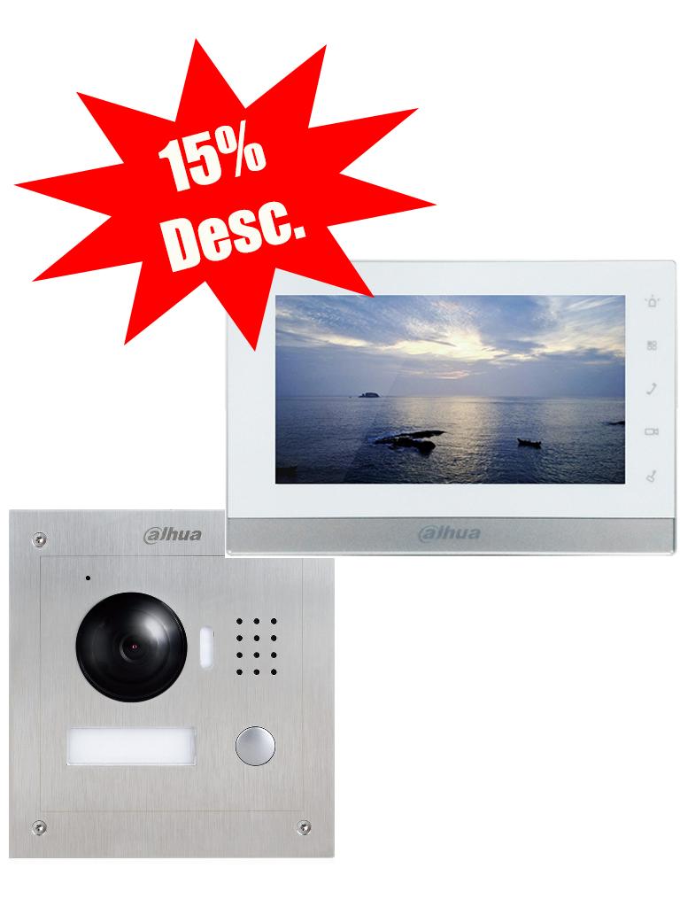 DAHUA VTH1550CHPAKII - Incluye frente de calle IP y monitor touch de 7 pulgadas / Notificacion y apertura desde celular