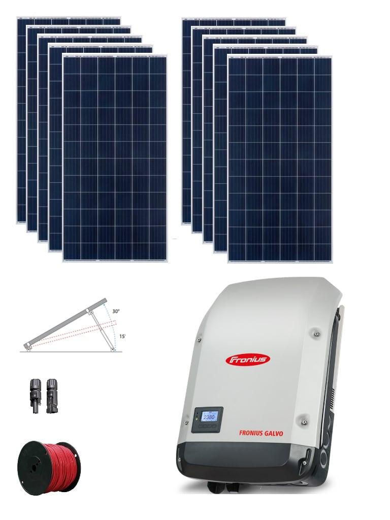 TVC SOLAR 3KFRONIUSPACK - Paquete de 10 paneles RISEN TIER1 de 330W / Inversor central FRONIUS 3.1 KW / Estructuras de montaje para 10 paneles / 10 Pares de conectores / Bobina de cable fotovoltaico