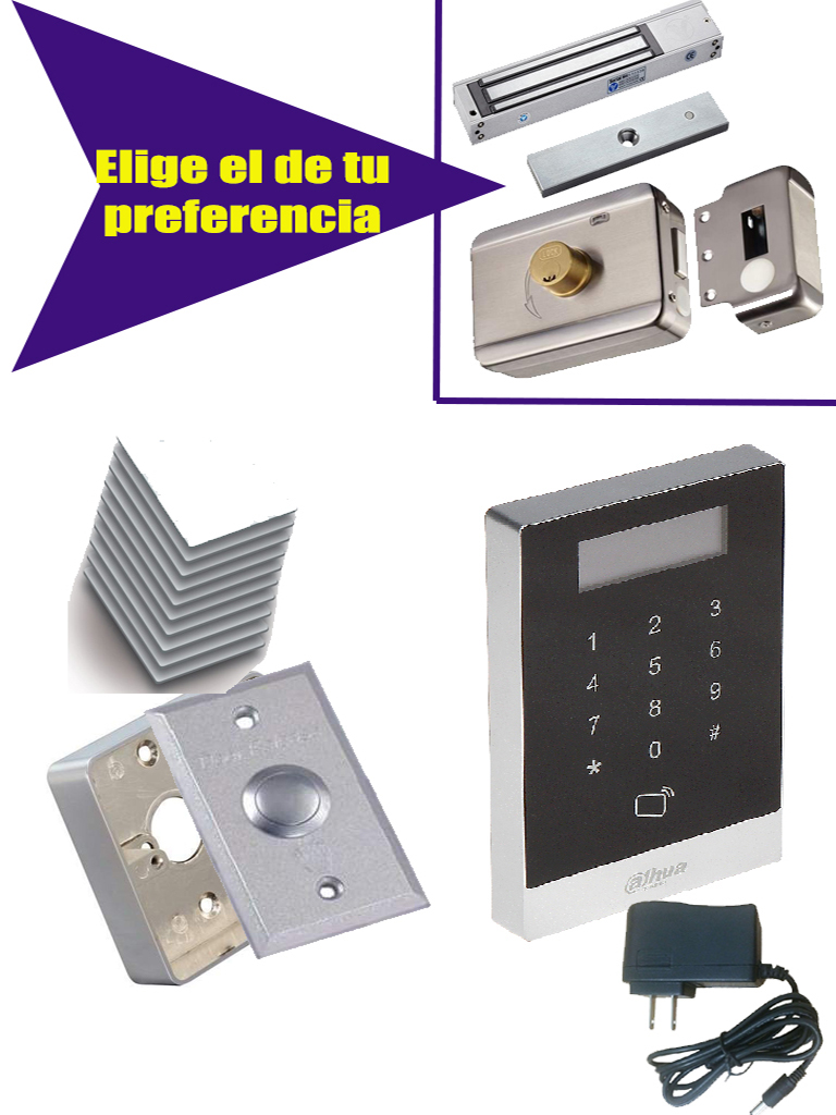 DAHUA ASI1201ADPAK - Incluye control de acceso touch para tarjeta o PASSWORD / Fuente 12 VDC / 10 Tarjetas  ID / Chapa magnetica 280 Kg / Gratis boton LIB