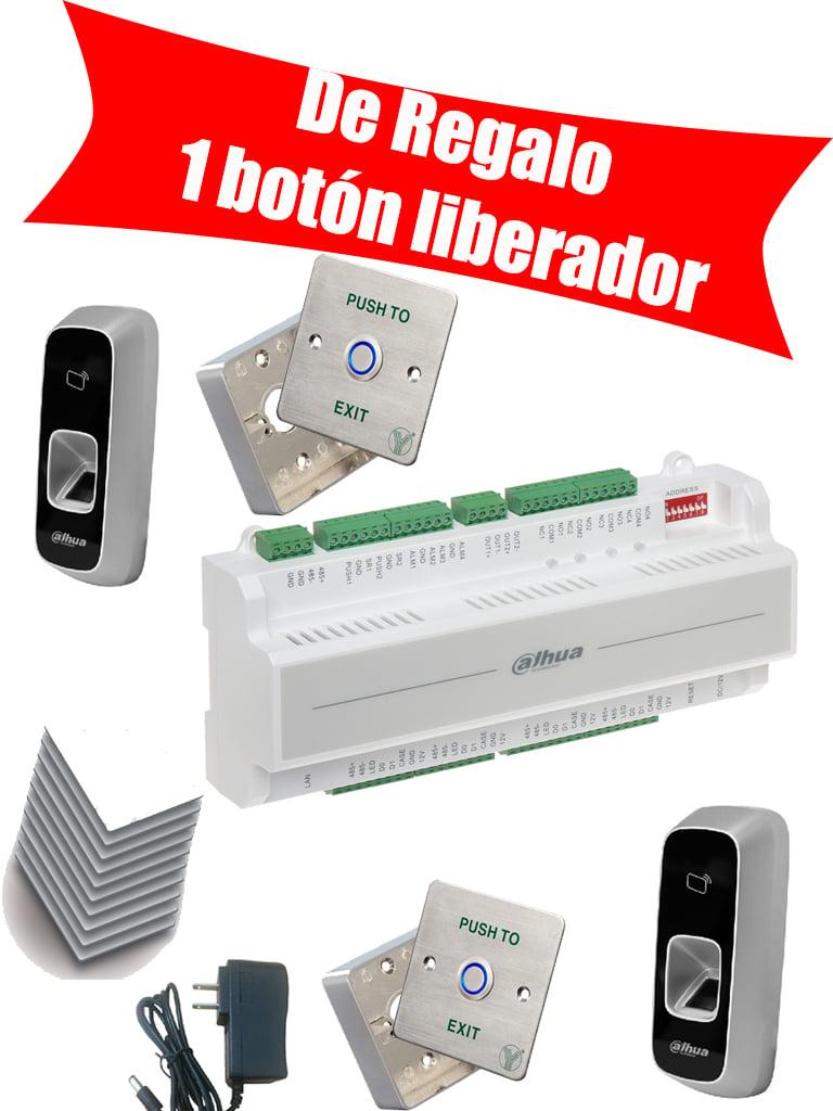 DAHUA ASC1202BDPAK - Control acceso independiente / 2 Lectora de HUELLA&TARJETAS  ID / Fuente de 12V 4A / 10 Tarjetas  ID / Caja y boton liberador / Gratis 1 boton