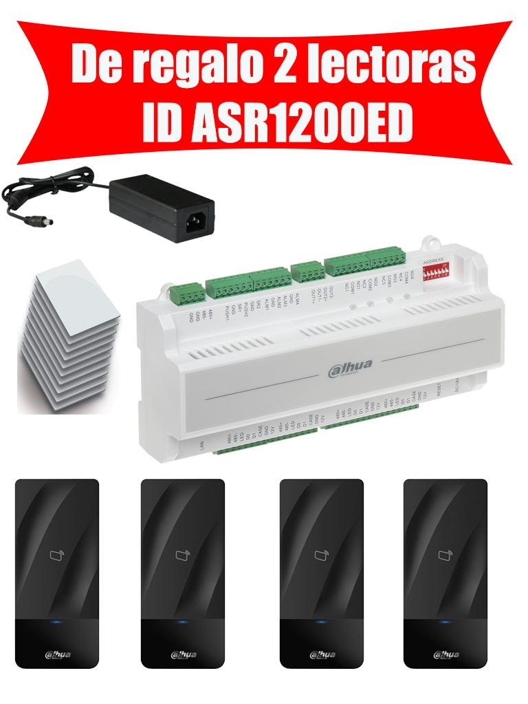 DAHUA ASC1204BPAK - Control de acceso 4 puertas / 2 Lectoras  ID ASR1200ED / Fuente 12V 4.1 A MP / 10 Tarjetas  ID / Gratis 2 lectoras  ID