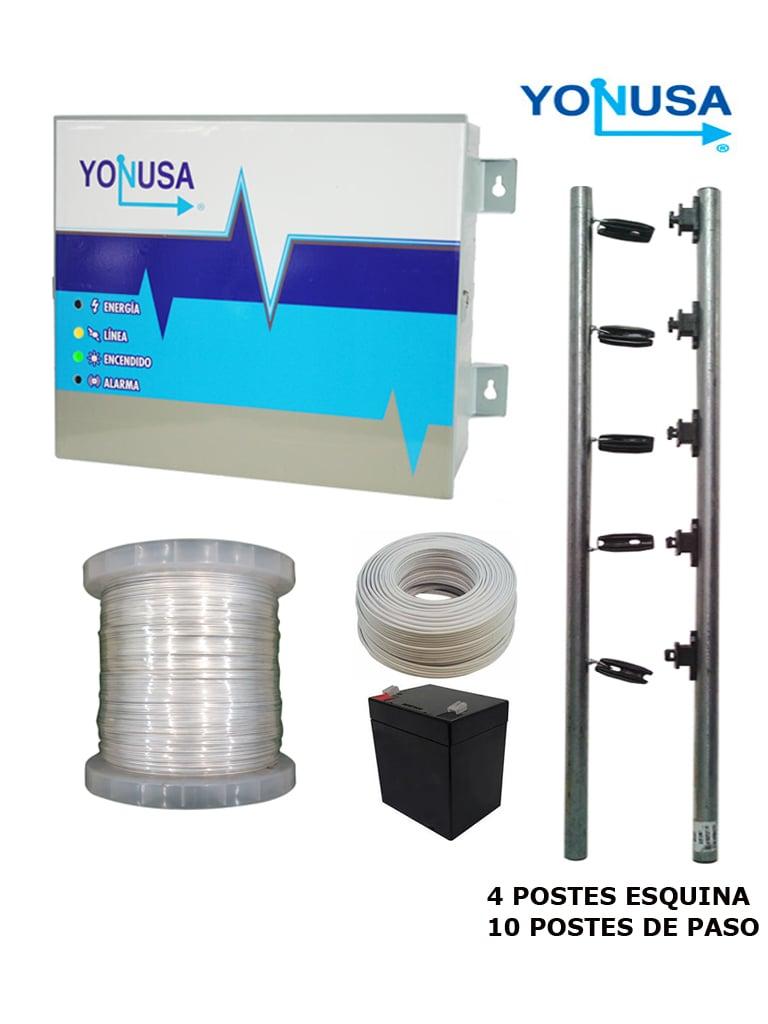 YONUSA PAKEY120001272 - PAQUETE ENERGIZADOR PARA CERCA ELECTRICA/ 12000V/ 1200 MTS LINEALES/ BOBINA ALAMBRE ALUMINIO 500  MTS/ BOBONA CABLE BUJIA 20 MTS/ BATERIA Y POSTES ESQUINA Y DE PASO