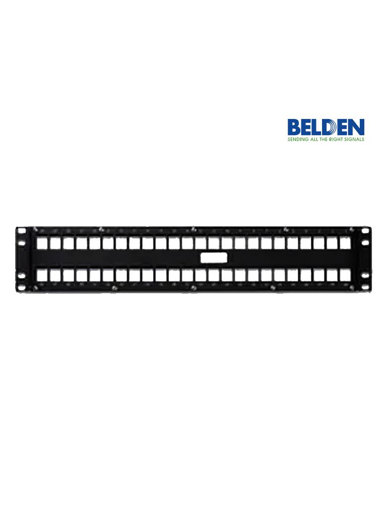 BELDEN AX103115- Panel de parcheo/ Keyconnect/ 48 Puertos/ 2U/ Color Negro/ Compatible con conectores modulares keyconnect