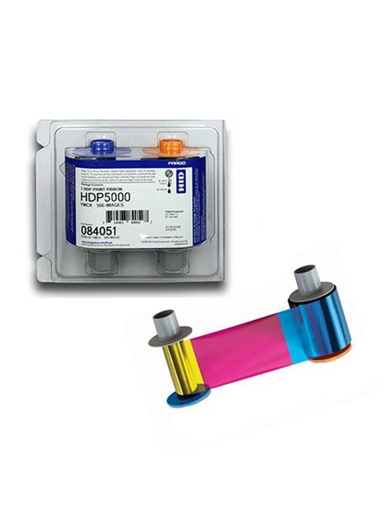 HID CINTA84051 - Cinta HID para 500 Impresiones a una cara / Tinta  YMCK / Compatible con HDP5000 / Transferencia / Impresion de alta calidad borde a borde