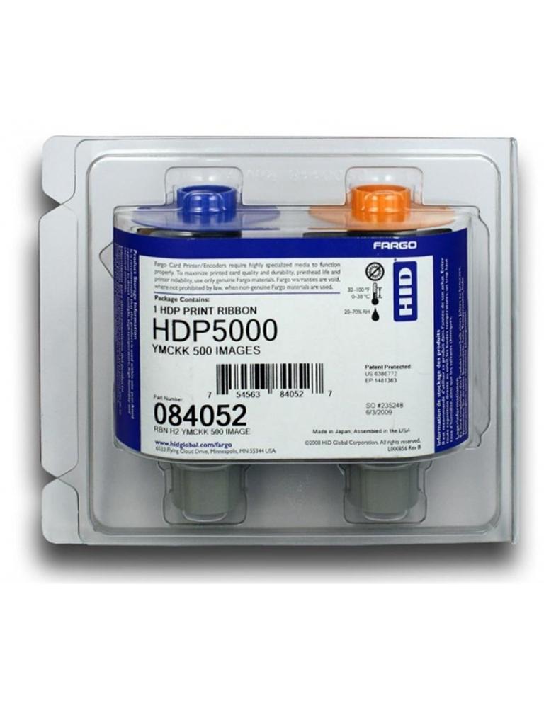 HID CINTA84052 - Cinta para 500 impresiones en tarjetas de PVC / Tinta   YMCKK / Compatible con impresora  HDP5000 / RETRANSFERE NCIA