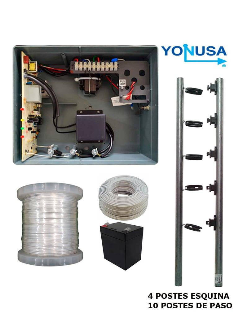 YONUSA PAKEYNG12001 - Paquete de ENERGIZADOR de nueva generacion 12 000V / Postes de paso / Postes esquina / Bobina de alambre / Cable bujia / Bateria