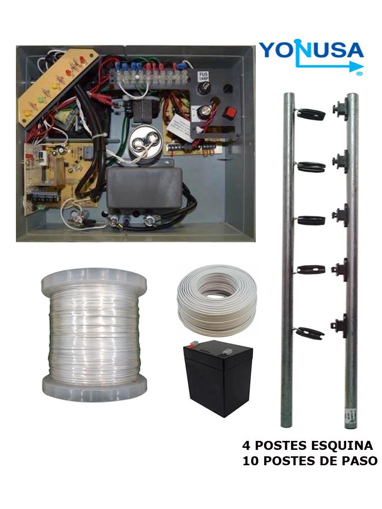 YONUSA PAKEY10000127AF - PAQUETE DE ENERGIZADOR DE ALTA FRECUENCIA ANTIPLANTAS 10 000V/ POSTES DE PASO/ POSTES ESQUINA/ BONINA DE ALAMBRE/ CABLE BUJIA/ BATERIA
