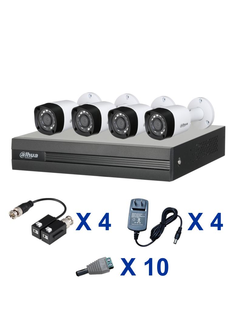 DAHUA XVR1A04PAQ - PAQUETE DE DVR DE 4 CANALES XVRIA04 / 4 CAMARAS 720P/  TRANCEPTORES/ FUENTES Y CONECTORES MACHO