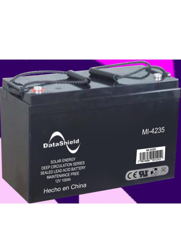 DATASHIELD MI - 4235 -BATERÍA Para sistemas solares / 12 V / Capacidad nominal 20 HR, 100 AH / Selladas libres de mantenimiento vida util de 4 a 10 AÑOS.