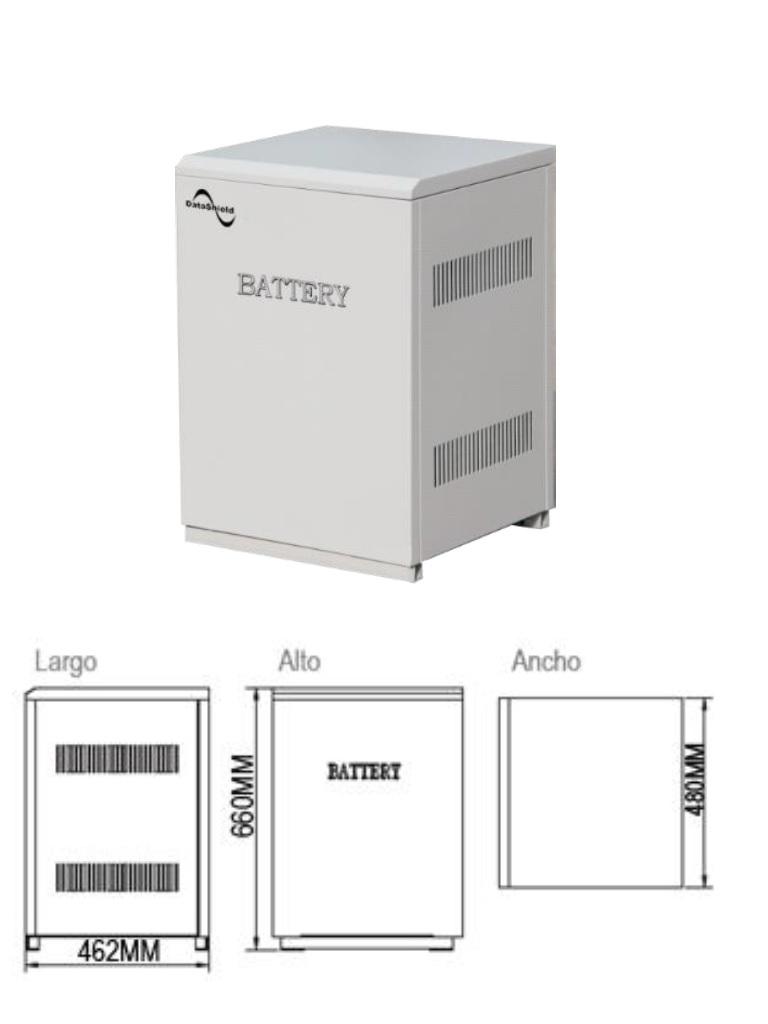 DATASHIELD ME - 5150A- Banco de baterias solares con 2 baterias MI-4235 incluidas / Tiempo de respaldo para IS-1000 1:45 HRS / Tiempo de respaldo para IS-3000 0:25 HRS. / 76  Kg, / L 462  mm *H 660 mm *W 480 mm.