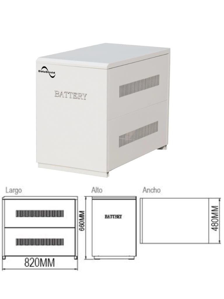DATASHIELD ME - 5151A- Banco de baterias solares con 6 baterias MI-4235 incluidas / Tiempo de respaldo para IS-1000 7:40 HRS / Tiempo de respaldo para IS-3000 1:45 HRS. / 193.5  Kg, / L 820  mm *H 660  mm *W 480  mm.