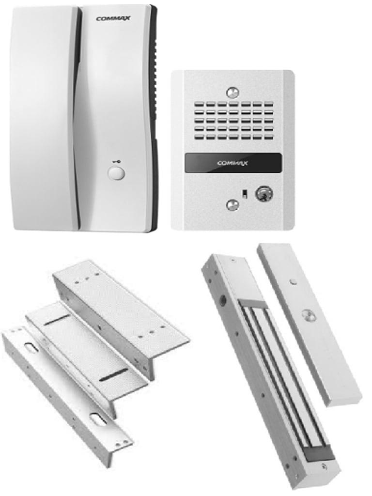 COMMAX DP2LMB2805PAK - Paquete de audioportero con apertura de puerta, incluye cerradura magnética de 280 Kg o 600 lb y soporte de instalación en ZL
