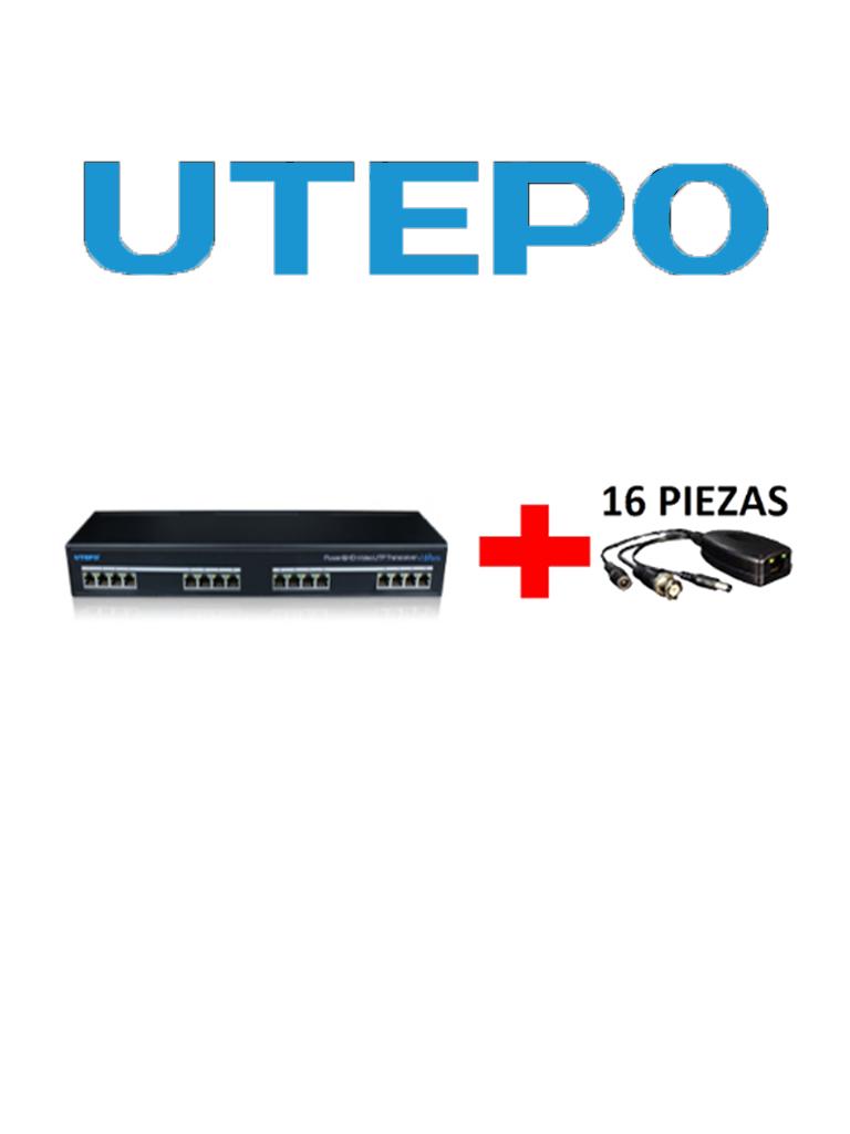 UTEPO UTP116PVHD2 - Transmisor y receptor de 16 canales de video y energia /  HDCVI / TVI / A HD / CVBS / Distancia 400M a  720p / 200M A  1080p