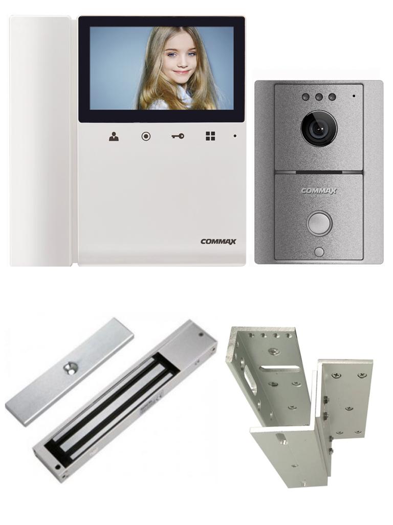 COMMAX DRC4LGLMBPAK - Paquete de videoportero Commax con frente de calle y monitor de 4.3 pulgadas, incluye cerradura magnética de 280 Kg o 600 lb y soporte de Instalación en ZL