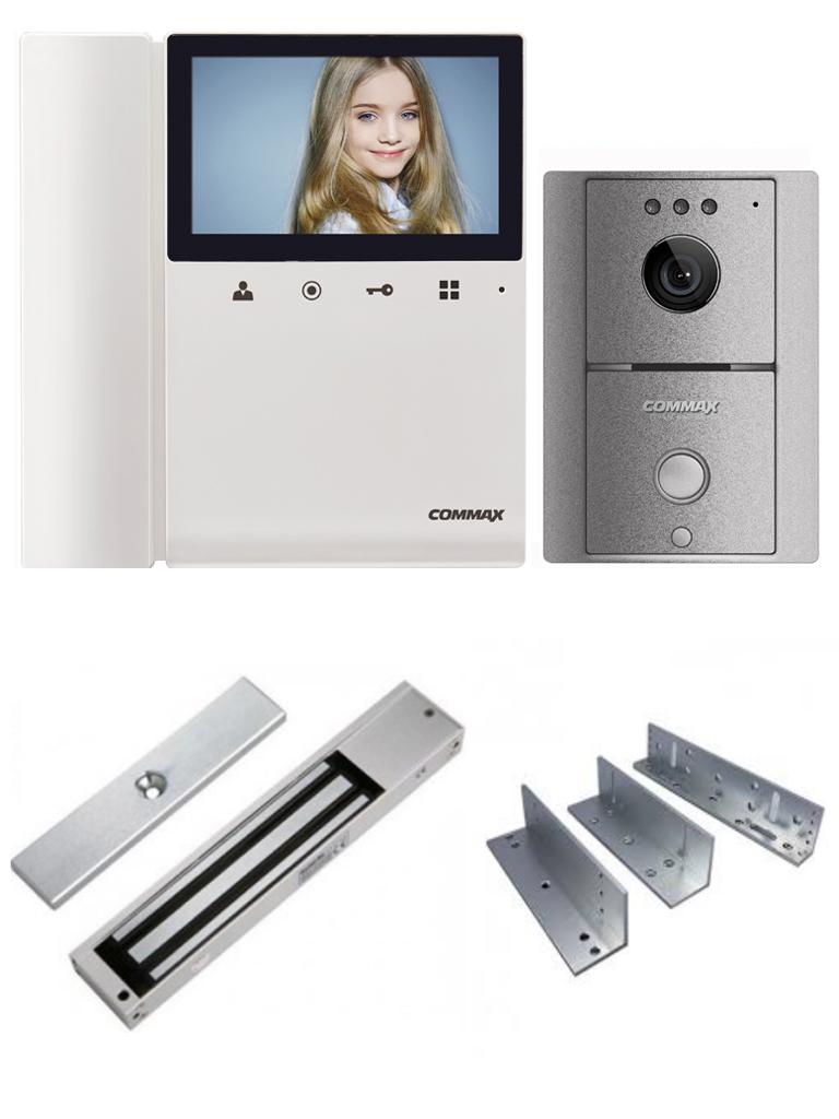 COMMAX DRC4LGL1805PACK - Paquete de videoportero frente de calle y monitor de 4.3 pulgadas, con apertura de puerta, incluye cerradura magnética de 180 Kg y soporte de instalación en ZL