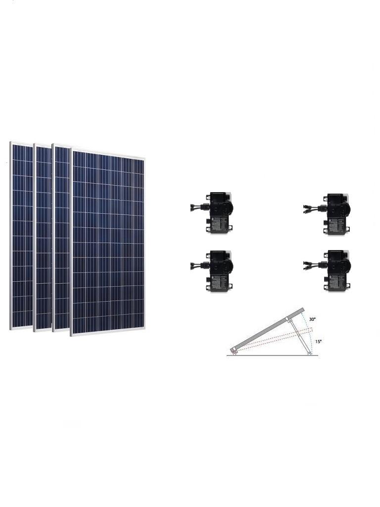 KIT BASICO - 4 Paneles solares RISEN / 4 Microinversores ENPHASE / Estructura de montaje