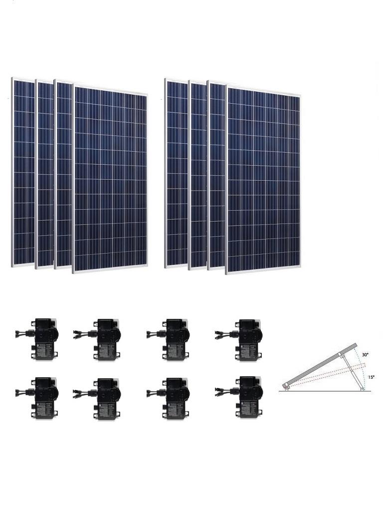 KIT 8 MICRO - 2.6 KWP / 8 Paneles solares RISEN / 8 Microinversores ENPHASE / Estructura de montaje y conectores