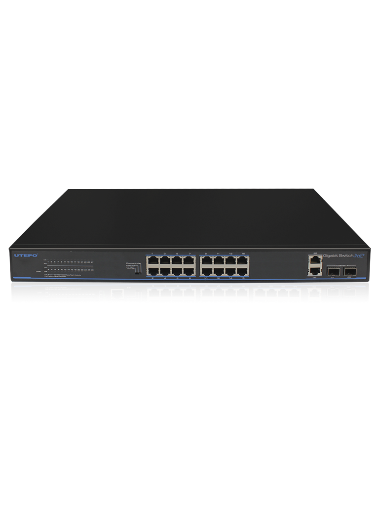 UTEPO UTP3GSW1604TSP200- SWITCH GIGABIT POE/ NO ADMINISTRABLE/ 16 PUERTOS POE GIGABIT/ 2 PUERTOS GIGABIT RJ45/ 2 PUERTOS GIGABIT SFP/ POE 180 WATTS
