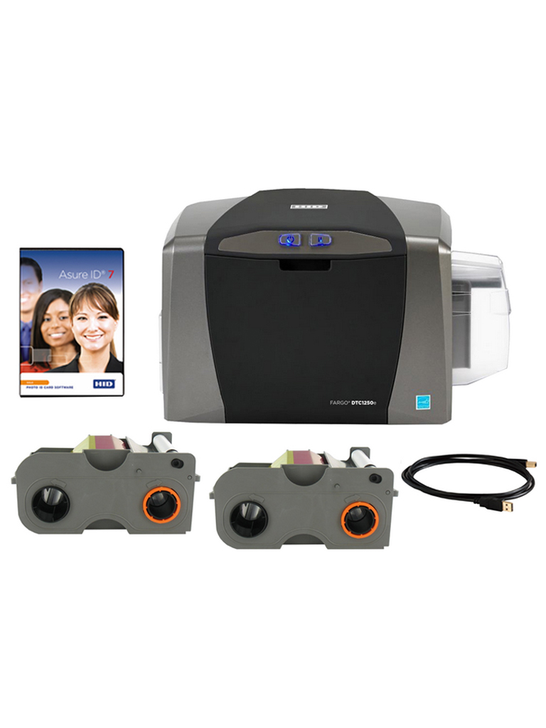 HID DTC1250KIT - Kit de impresora DTC1250E / Impresion un solo lado / Incluye 500 tarjetas PVC10M sin tecnologia /  USB / 2 Cintas / Licencia ASURE ID EXPRE