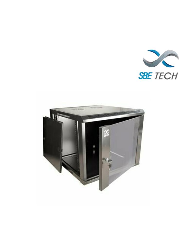SBETECH GNLPAR12URP- Gabinete de pared / 12 UR / Capacidad de carga de 60 Kg / Ancho 600 mm x profundidad 600 mm x alto 640 mm / Puerta delantera de cristal templado
