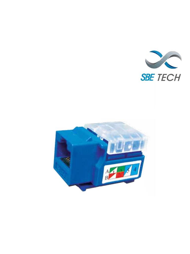 SBETECH 2302BL- Modulo jack keystone RJ45 / 8 Hilos / CAT 5e / Compatible con calibres AWG 22-26 / Color azul