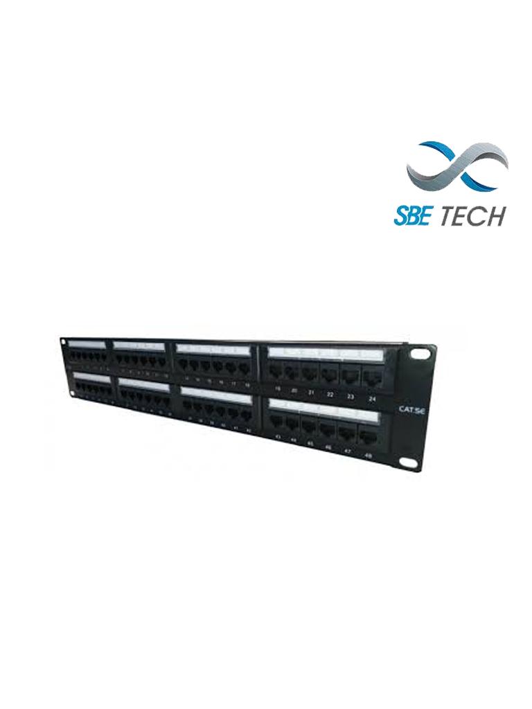SBETECH SBE-2202-48P - Panel de parcheo categoría 5e/ 48 Puertos/ Incluye etiqueta en frente y parte trasera