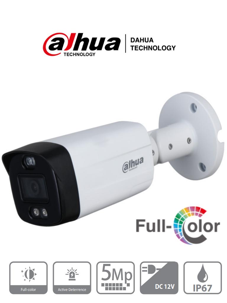 DAHUA HAC-ME1509TH-PV - Camara Bullet TiOC de 5 Megapixeles TiOC/FullColor/ Disuasion Activa con Luz Roja y Azul/ Lente de 3.6 mm/ Luz de 40 Mts/ 1 Salida de Alarma/ Soporta CVI/TVI/AHD/CVBS/ IP67/