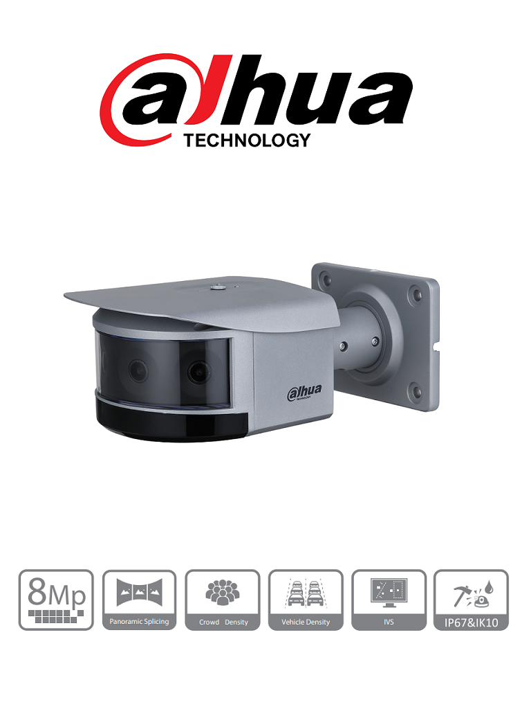 DAHUA DH-IPC-PFW8840N-A180-E4 - Camara IP Multisensor Panoramica Bullet de 8 Megapixeles/ Multisensor 4x2MP/ Wizmind/ 180 Grados/ H.265+/ IR 30 Mts/  DWDR, 3D NR, HLC, BLC/ 2&2 E&S de Alarma/ E&S de Audio/ IP67/ IK10