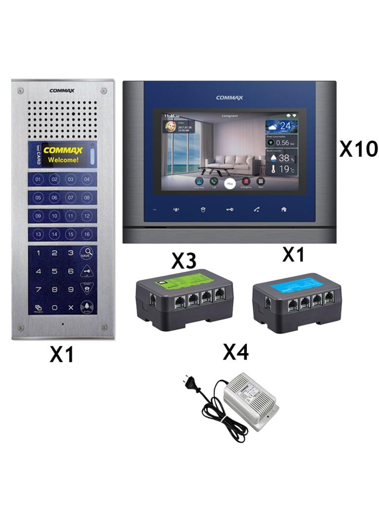 COMMAX MODUMPACKMV70MX - Solucion para departamentos con 10 monitores  WiFi touch con notificacion a celular / Frente calle C MP4BCT / Distribuidores