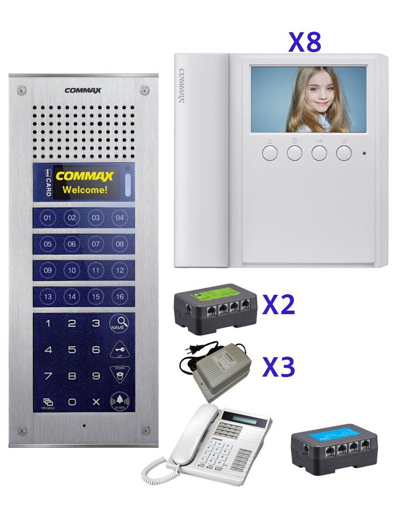 COMMAX CVM43ADEP - Paquete base que incluye frente de calle departamental CMP4BCT, 8 monitores modelo CMV43A, distribuidor de piso y fuente de 24 DVC, estación de guardia para comunicación con departamentos