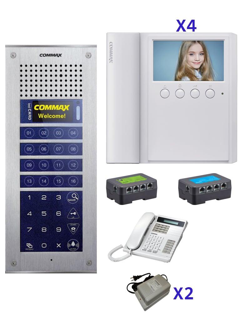 COMMAX CMV43PAK - Paquete de solución de videoportero departamental con 4 monitores CDV43A, frente de calle, distribuidores, fuente de alimentación y Estación de guardia para comunicación con apartamentos