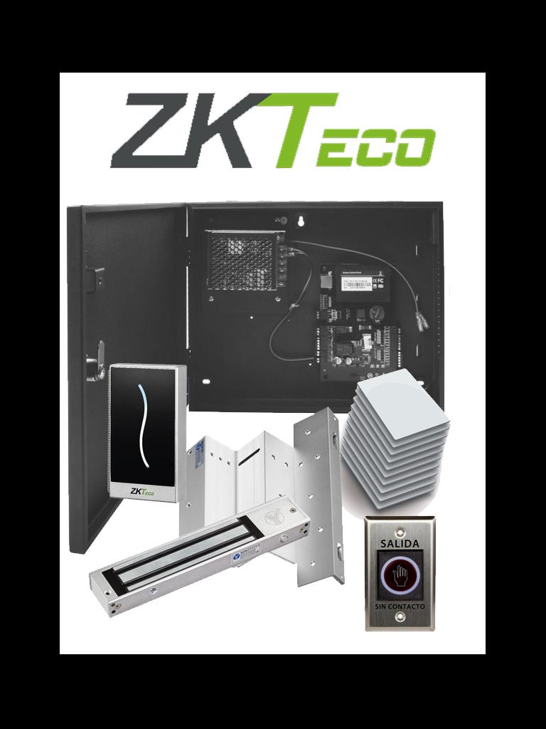 ZKTECO C3MifarePACK- Control de Acceso Profesional para 1 Puerta con Lector de Tarjeta MIFARE / Botón de Salida sin Contacto / Contrachapa Magnética y Soporte para Contrachapa / Paquete de 50 Tarjetas / Administra con Software ZK Access 3.5
