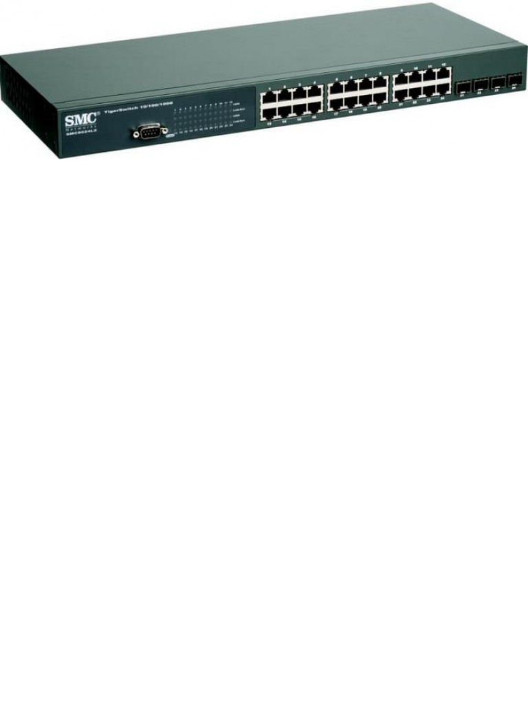 SMC SMC8024L2 - SWITCH ADMINISTRABLE CAPA 2 / 24 PUERTOS GB ETH / 4 COMBO RJ45 SFP / QOS / SWITCHING 48GBPS