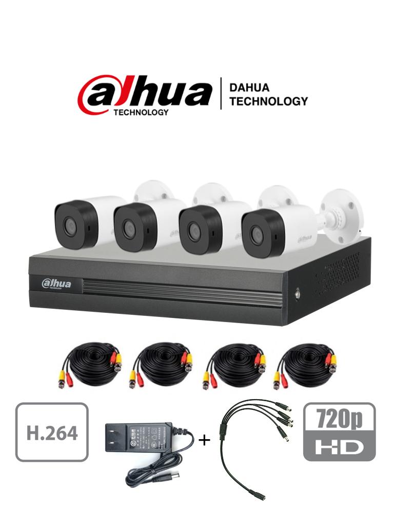 DAHUA COOPER XVR1A04KIT - Kit 4 canales 1 Megapixel/ 4 Camaras B1A11 720p/ DVR de 4 Canales H.264 1080p Lite/ 1 Ch IP Adicional/ IR 20 mts/ IP67/ Accesorios/