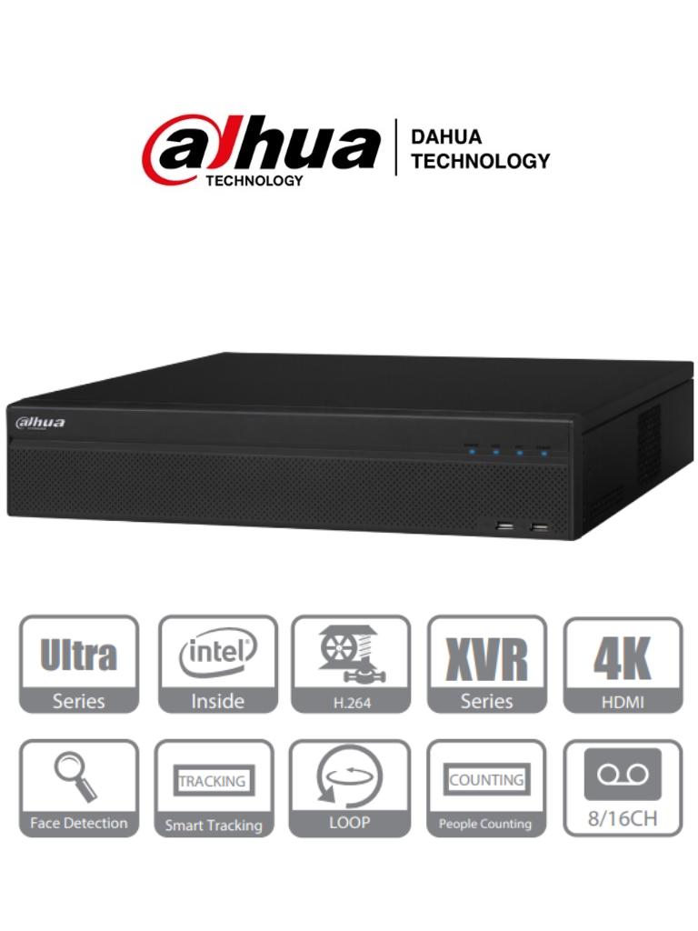 DAHUA XVR8816S - DVR de 16 Canales 4k/ H.264+/ 8 Puertos SATA/ Linux/ 2 Puertos HDMI, 1 VGA y 1 TV/ 16&6 E&S De Alarmas/ 4 Puertos USB/ Función Loop/ Hasta 64 Canales IP/ Dewarping/