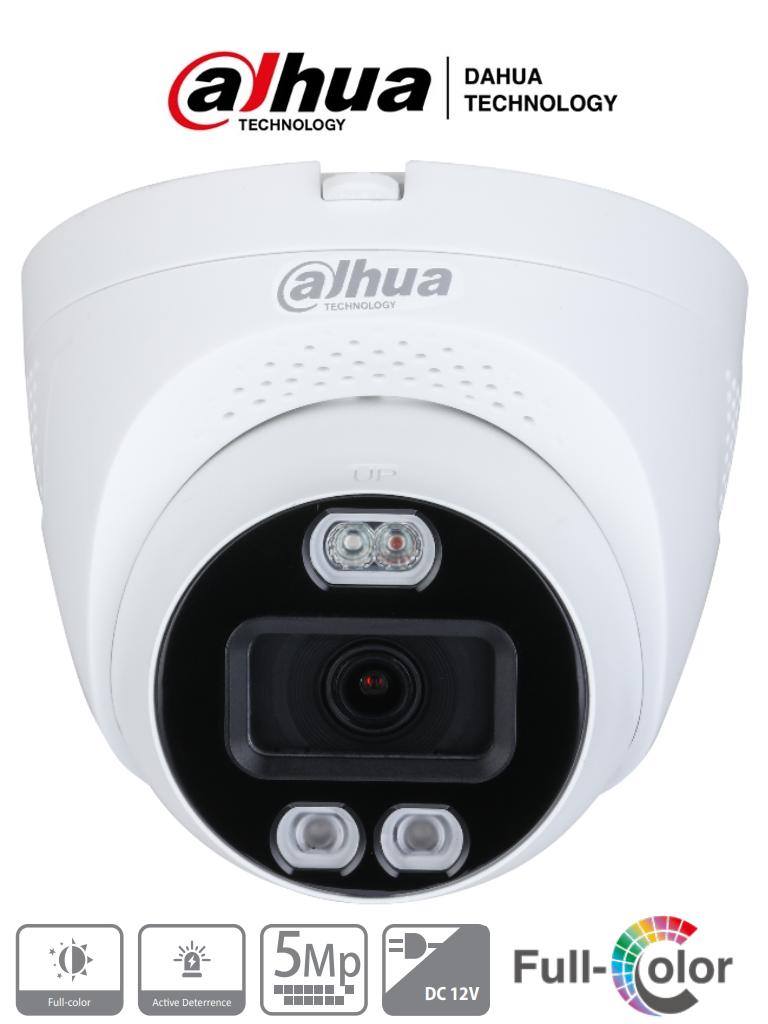 DAHUA HAC-ME1509TQ-PV - Camara Domo TiOC de 5 Megapixeles TiOC/ Disuasion Activa con Luz Roja y Azul/ FullColor/ Lente de 2.8mm/ Luz de 40 Mts/ 1 Salida de Alarma/ Soporta CVI/TVI/AHD/CVBS/ IP67/