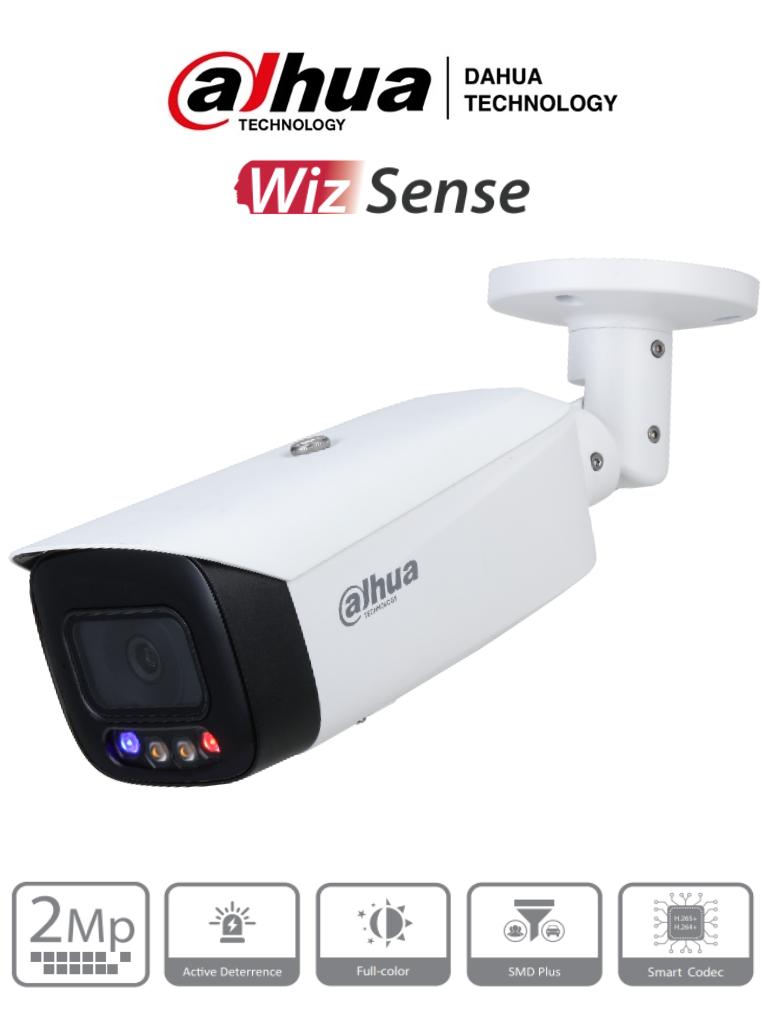 DAHUA IPC-HFW3249T1-AS-PV- Cámara IP Bullet TiOC de 2 Megapixeles/ Lente de 3,6 mm/ Sirena Integrada/ Estrobo Rojo y Azul/ Full Color/ SMD Plus/ H265/ Leds para 40 Mts/ Microfono Integrado/IP67/ POE/ WizSense/ #LoNuevo # DEMOEXPO