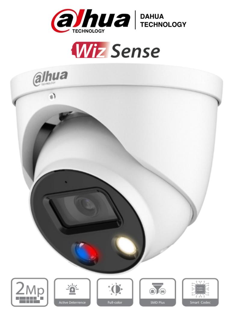DAHUA IPC-HDW3249H-AS-PV- Cámara IP Domo TiOC 2 Megapixeles/ Lente de 2.8mm/ Disuasión Activa/ FullColor/ WizSense/ Estrobo Rojo y Azul/ Sirena Integrada/ SMD Plus/ Micrófono Integrado/ WDR Real/ IP67/ Poe/ Ranura para MicroSD/ #LoNuevo
