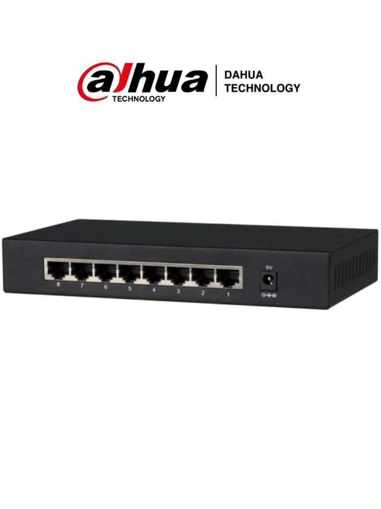 DAHUA PFS3008-8GT - Switch Gigabit de 8 Puertos No Administrable/ Capa 2/ 10/100/1000 Base-T/ Carcasa Metalica/ Switching 16G/ Tasa de Reenvio de Paquetes 11.9 Mbps/ Memoria Bufer de Paquetes 1.5Mb/ Con Proteccion de Descargas/