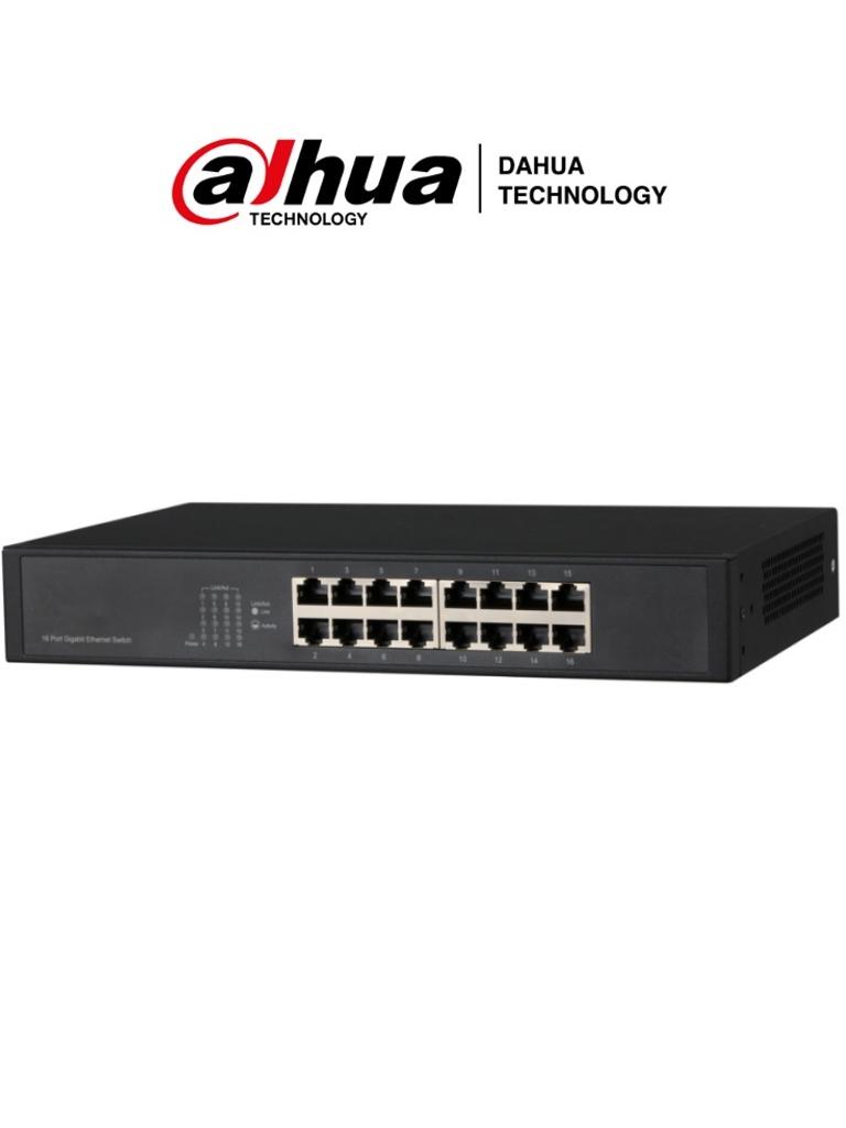 DAHUA DHPFS301616GT - Switch Gigabit de 16 Puertos No Administrable/ Capa 2/ 10/100/1000 Base-T/ Carcasa Metalica/ Switching 32G/ Tasa de Reenvio de Paquetes 23.8 Mbps/ Memoria Bufer de Paquetes 2Mb/ Con Proteccion de Descargas/