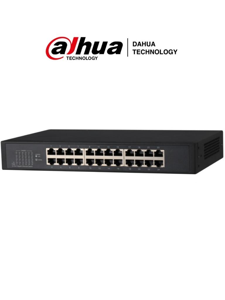 DAHUA PFS3024-24GT - Switch Gigabit de 24 Puertos No Administrable/ Capa 2/ 10/100/1000 Base-T/ Carcasa Metalica/ Switching 48G/ Tasa de Reenvio de Paquetes 35.7 Mbps/ Memoria Bufer de Paquetes 2Mb/ Con Proteccion de Descargas/