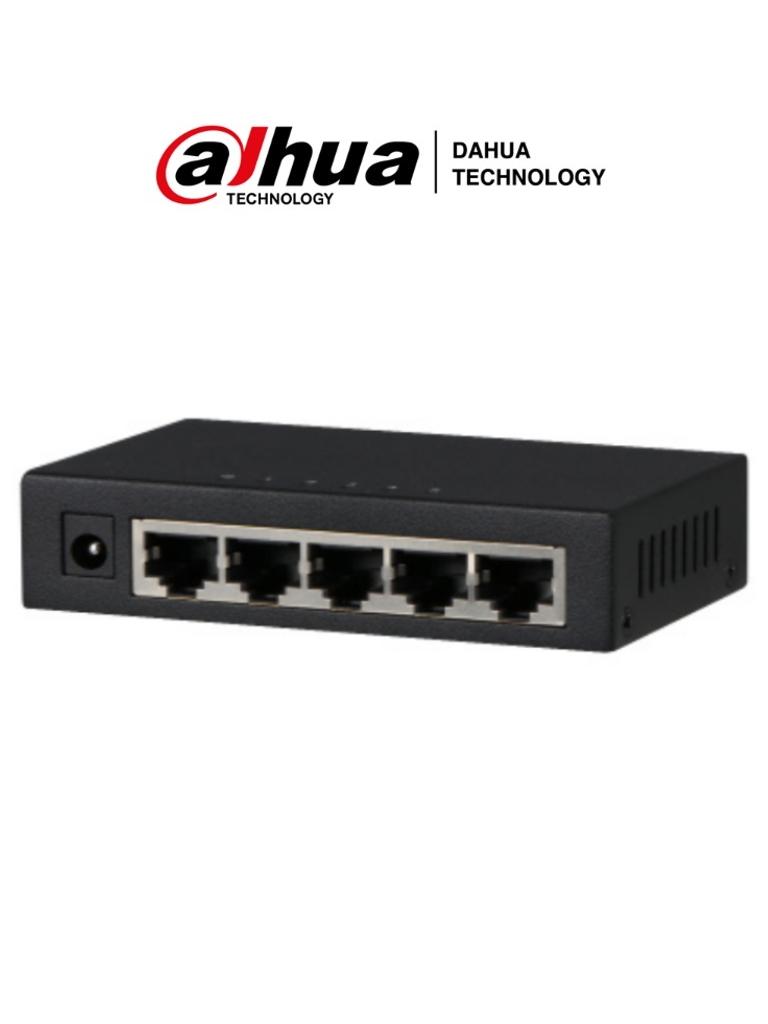 DAHUA PFS3005-5GT - Switch Gigabit de 5 Puertos No Administrable/ Capa 2/ 10/100/1000 Base-T/ Carcasa Metalica/ Switching 10G/ Tasa de Reenvio de Paquetes 7.44 Mbps/ Memoria Bufer de Paquetes 1Mb/ Con Proteccion de Descargas/