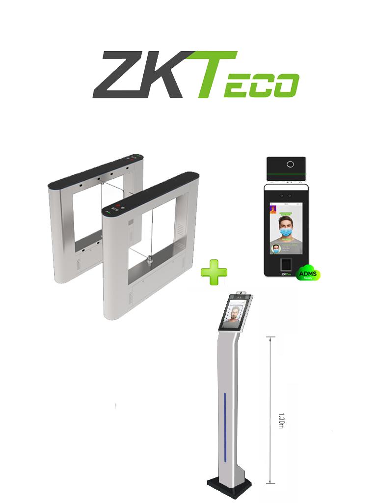 ZKTECO SBTLFaceV5LTI - Control de Acceso Peatonal un Carril con Barrera Abatible / Aleta de Acrílico / Incluye 2 SpeedfaceV5LTI Equipo de Detección Facial / Medición de Temperatura / Lector de QR  e Intercom / Licencia BioAcces MTD Gratis