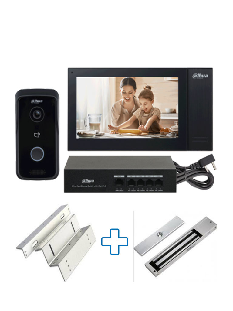 DAHUA KITKTP02PAK - Kit de Videoportero IP Frente de Calle, Monitor y Switch POE/ P2P / Incluye cerradura magnética #Videoportero